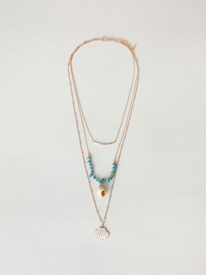 Seashell double strand necklace