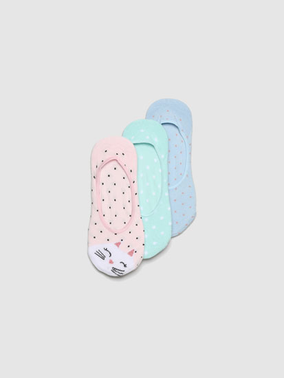Pack of 3 pairs of no-show socks with a polka dot print
