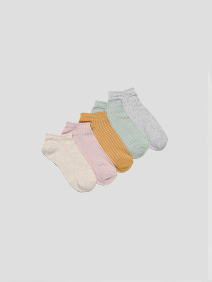 Pack of 5 pairs of ribbed ankle socks
