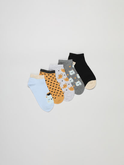 Pack of 5 pairs of cat print ankle socks.