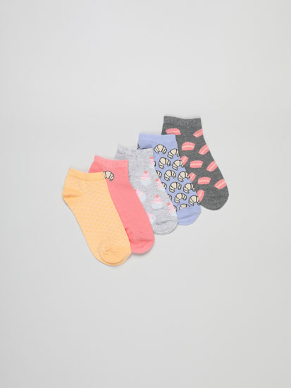 Pack of 5 pairs of cake print ankle socks