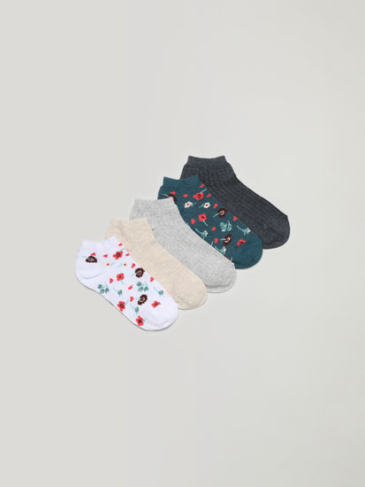 Pack of 5 pairs of ankle socks with a floral print