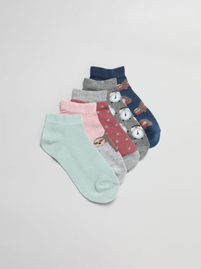 Pack of 5 pairs of printed ankle socks