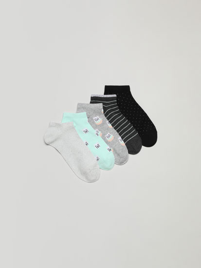 Pack of 5 pairs of printed ankle socks.