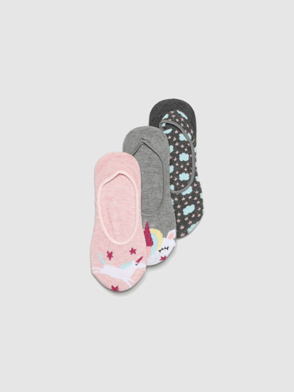 Pack de 3 pares de calcetíns tipo invisibles estampados unicornios