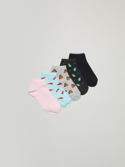 Pack of 5 pairs of food print ankle socks