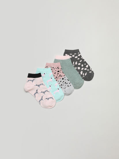 Pack of 5 pairs of dalmatian print ankle socks