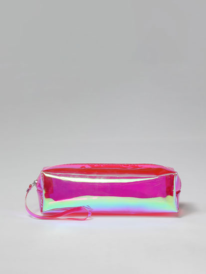 Transparent iridescent toiletry bag