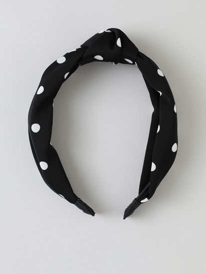 Polka dot headband with knot