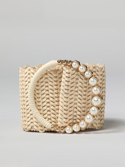 Raffia belt with faux pearls