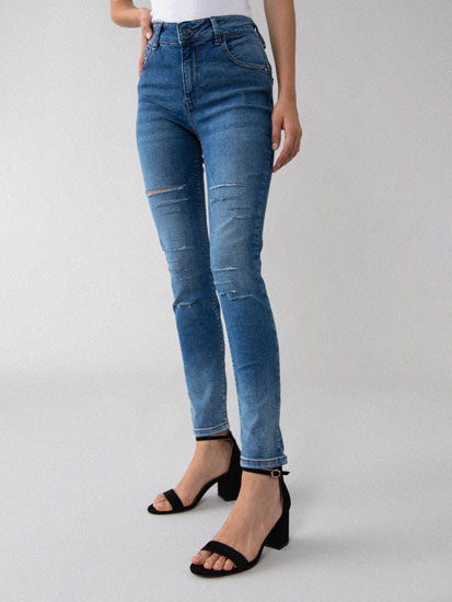 Skinny push-up jeans with rips