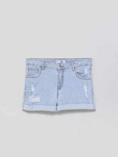 Basic ripped denim shorts