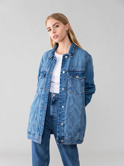 Oversized denim jacket with appliqués