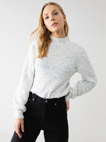 FAUX PEARL HIGH NECK SWEATER