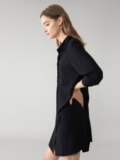 Shirt dress with pockets
