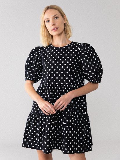 Vestido curto de popelina