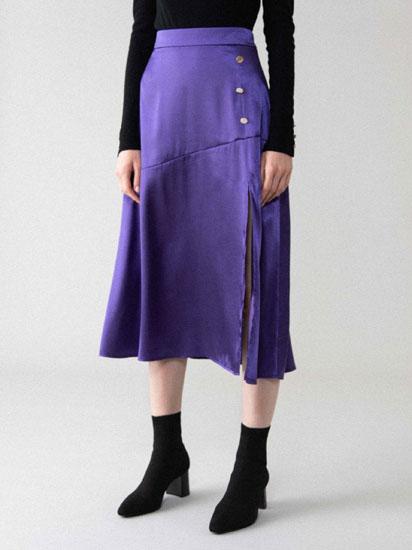 Falda midi satinada