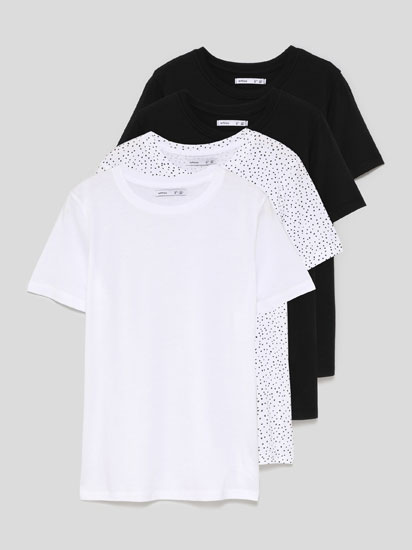 Pack of 4 contrasting coloured T-shirts with a round neckline
