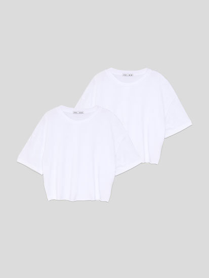 2-Pack of basic cropped T-shirts