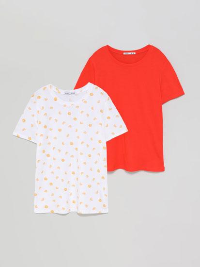 Pack de 2 camisetas lisa e estampada de colo redondo