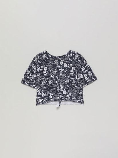 Camiseta cropped estampada