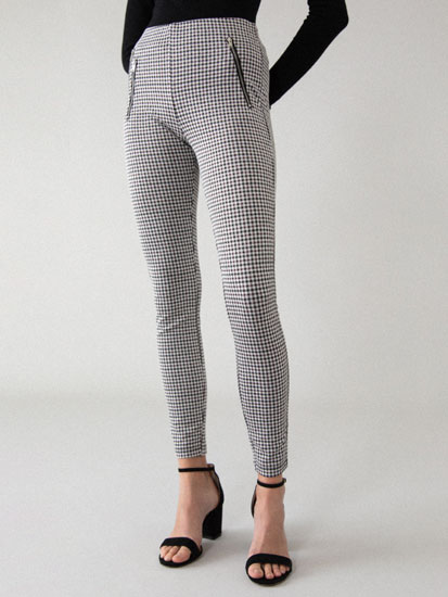 Checked leggings with zips