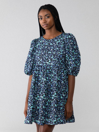 Print dress with puff sleeves