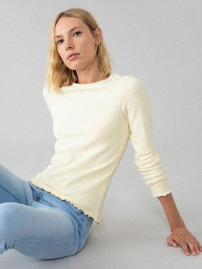 Camiseta de manga larga de canalé