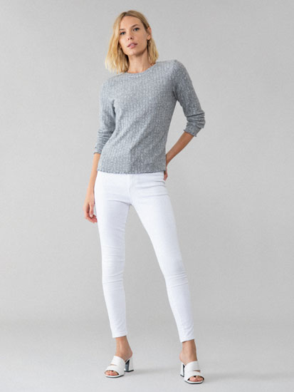 Ribbed long sleeve T-shirt