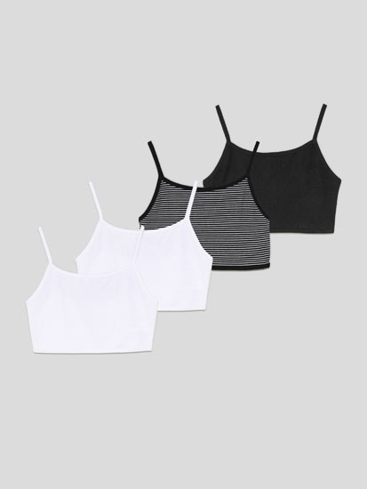 Pack de 4 tops de tirantes crop