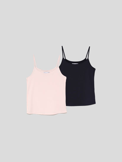 Pack de 2 camisetas elásticas tirante fino