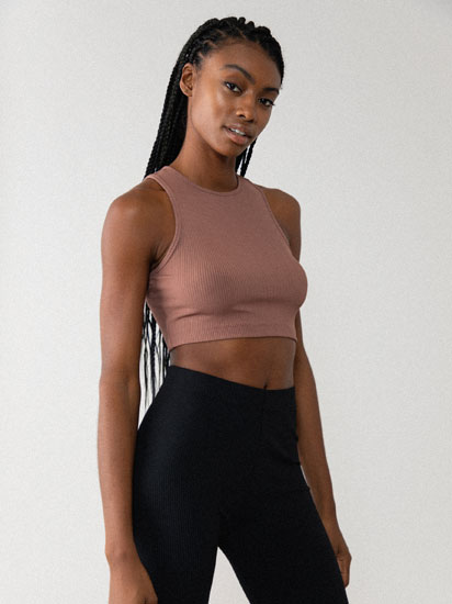 Sleeveless ribbed crop top