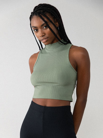 High neck crop top