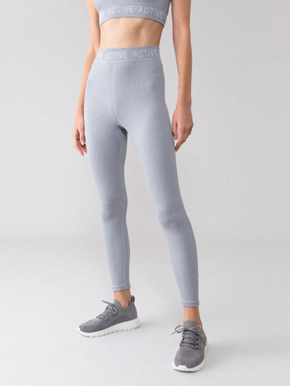 Ribbed slogan sports leggings