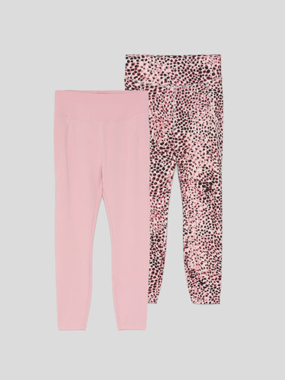 Pack de 2 leggings deportivos liso y estampado