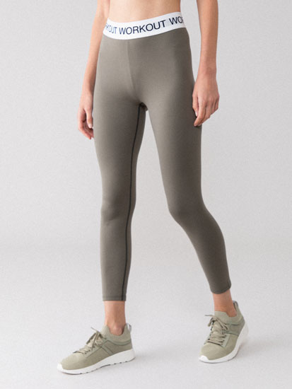 Sports leggings with slogan detail
