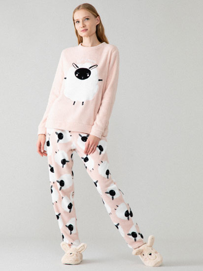 Sheep print fleece pyjama set