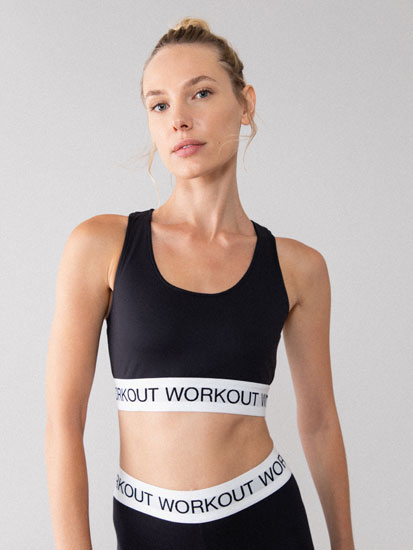 Sports bra with slogan detail