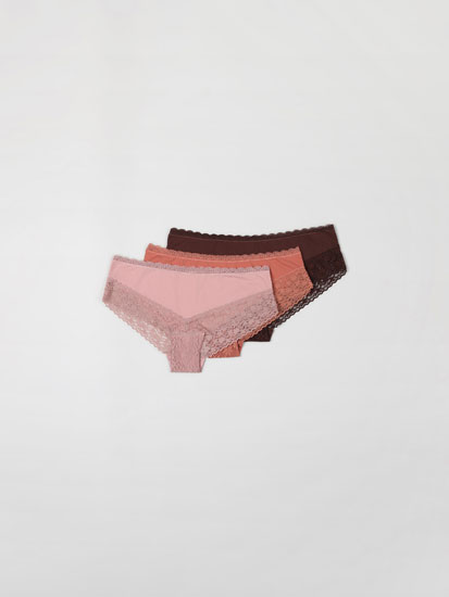 3-Pack of microfibre lace briefs