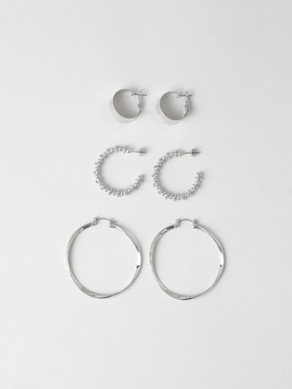 3-Pack of hoop earrings