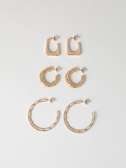 3-Pack of chain hoop earrings