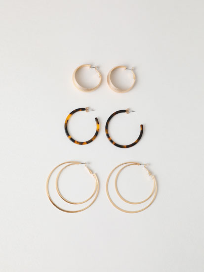 3-Pack of hoop earrings with irregular tortoiseshell