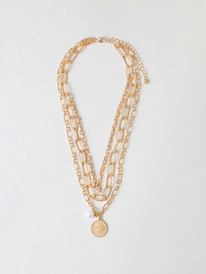 Multi-strand necklace with coin pendant