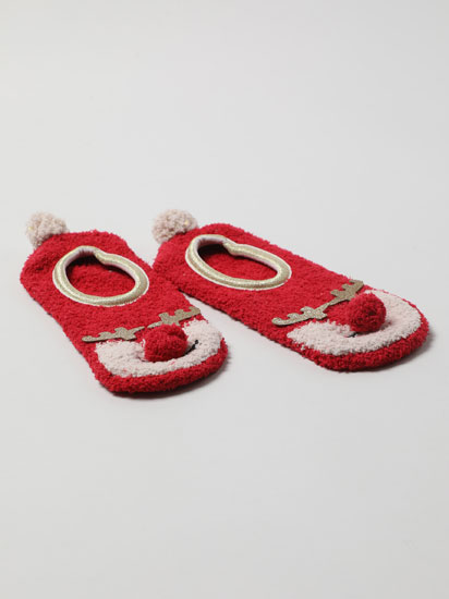 Pair of non-slip reindeer socks