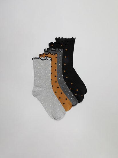 Pack de 5 pares de calcetíns longos de lunares