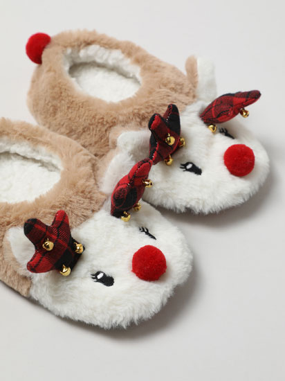 Faux fur reindeer slippers