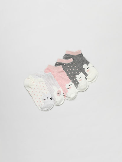 Pack of 5 pairs of ankle socks with animal faces