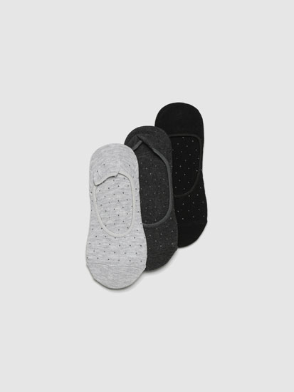 Pack of 3 pairs of printed no-show socks