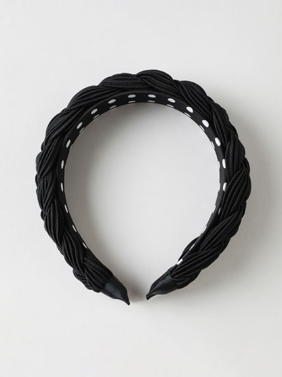 Pleated headband with inner print