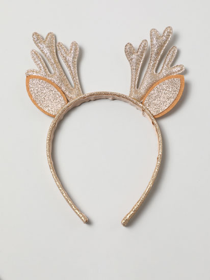 Christmas headband with shiny reindeer horns